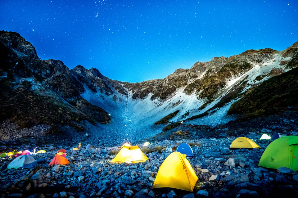 Camping under the stary sky on mountain