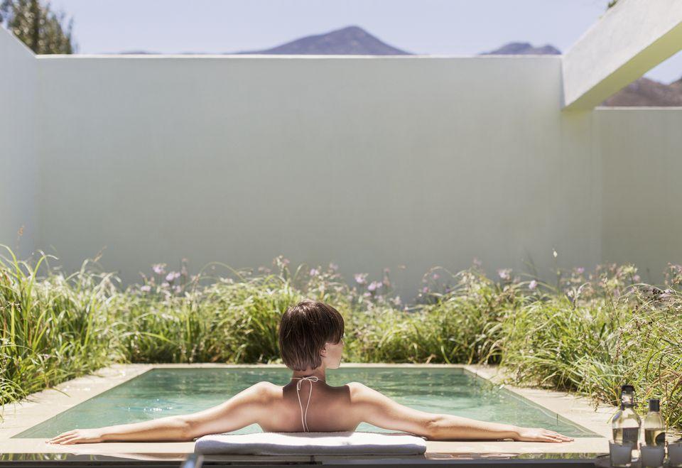 woman relaxing in spool