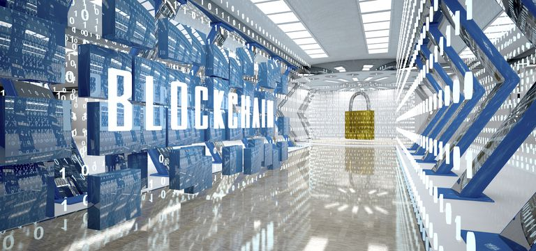 Digital room with padlock and word blockchain, 3d illustration