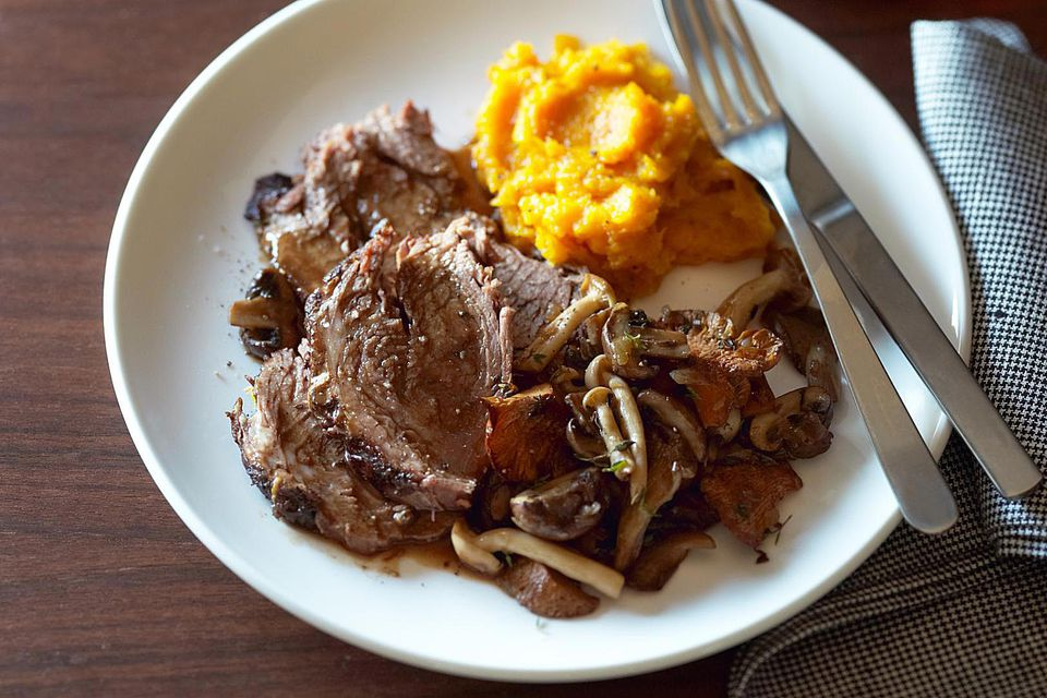 Pot roast, wild mushrooms, mashed butternut squash