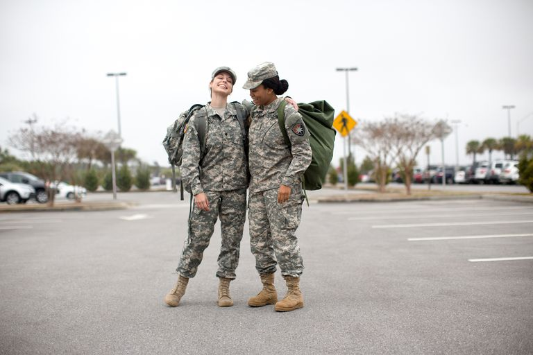 Portrait of Female Soldiers in Parking Lot