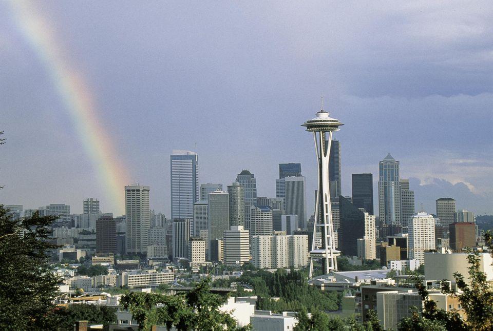 Seattle skyline with rainbow