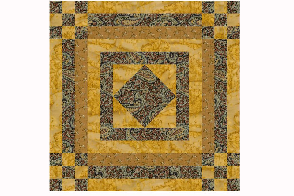 Nine Patches and Logs Quilt Block Pattern