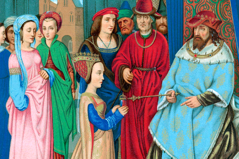 Medieval conception of the Queen of Sheba meeting King Solomon