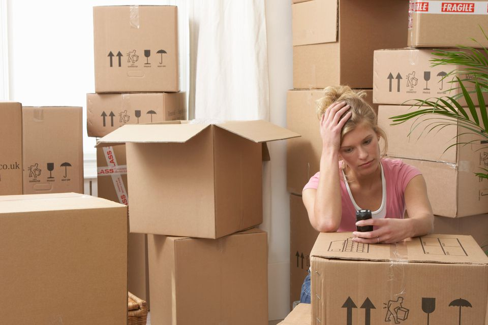Woman stressed during move