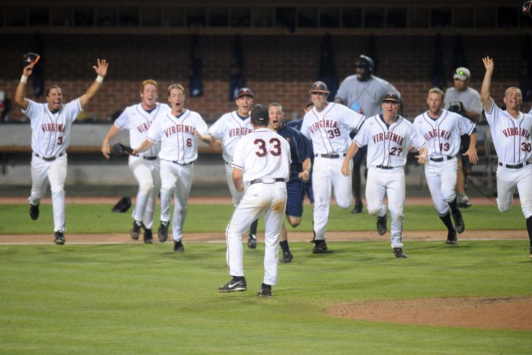 The Virginia Cavaliers celebrate winning to advance to the College Baseball World Series during the NCAA Baseball Super Regional against the Maryland Terrapins on June 9, 2014 at Davenport Field in Charlottesville, Virginia.
