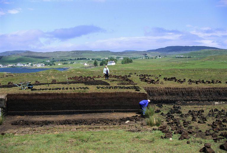 Peat Cutting on Isle of Skye, Scotland