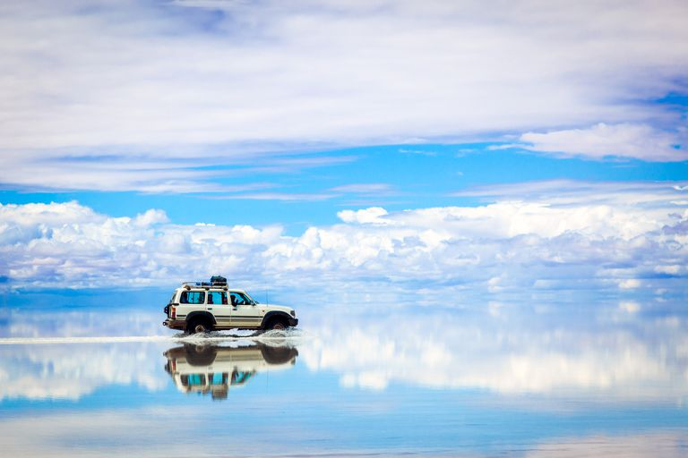 Jeep driving on water