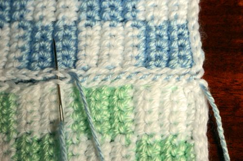 Sewing the Crocheted Squares Together Using Whip Stitch