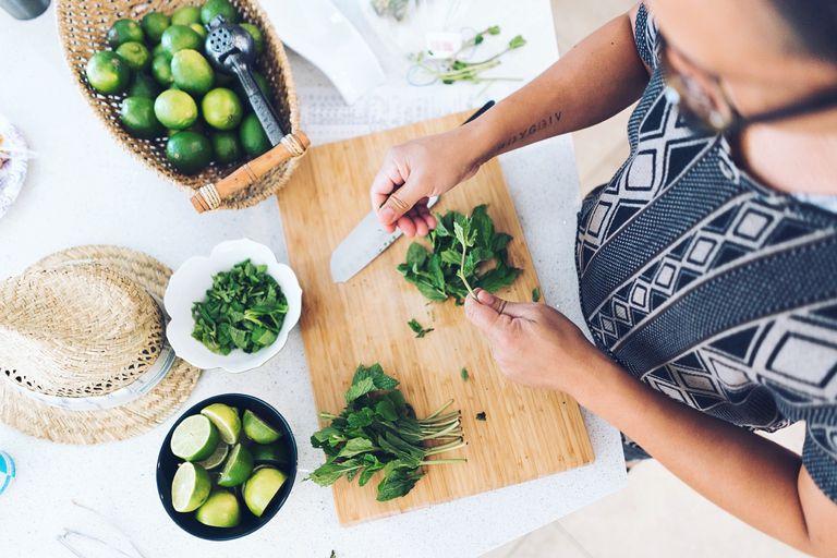 Chopping up herbs