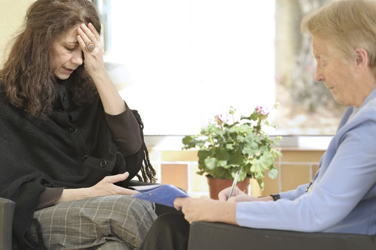 Fragile woman in counselling session
