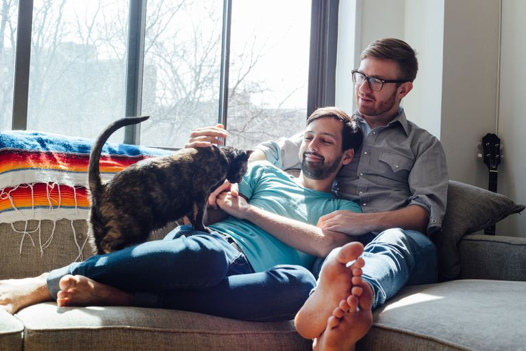 Same-sex couple with cat