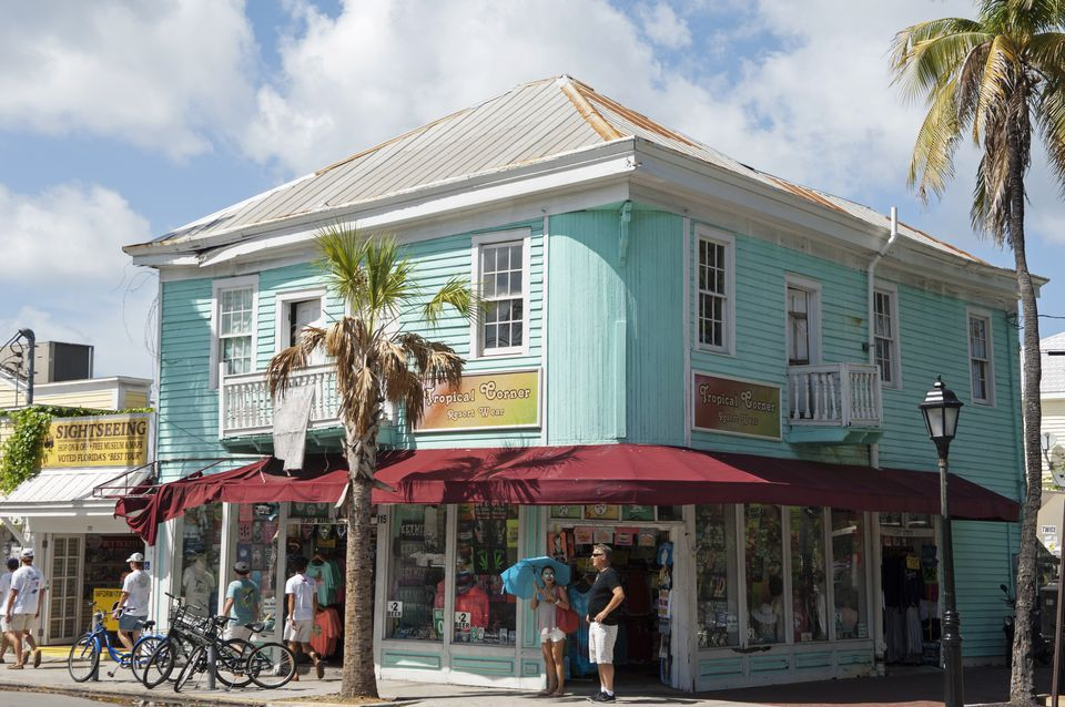 USA, Florida, Key West, Brightly painted shop on Duval Street