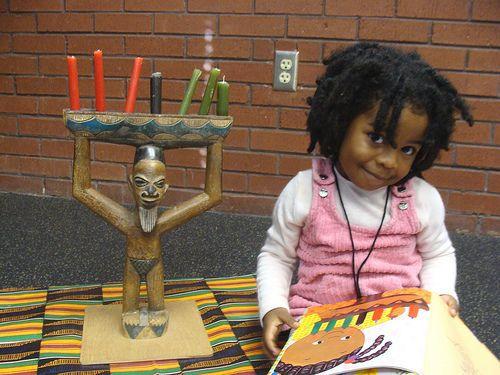 Kwanzaa, kwanza, kids, children, celebrate, party, girl, kinara, candelabra, mkeka, black, African A