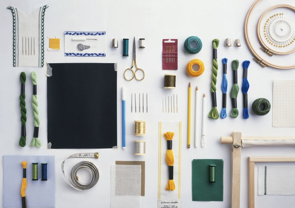 Various tools and materials used for sewing