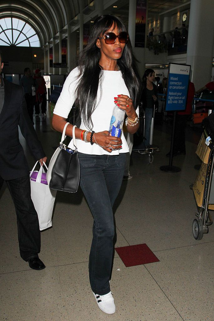 Supermodel Naomi Campbell at Los Angeles International Airport.