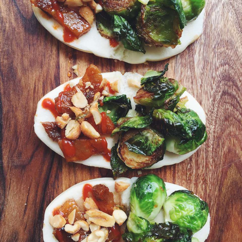 Honey Sriracha Brussels Sprout Steamed Buns with Pork Belly