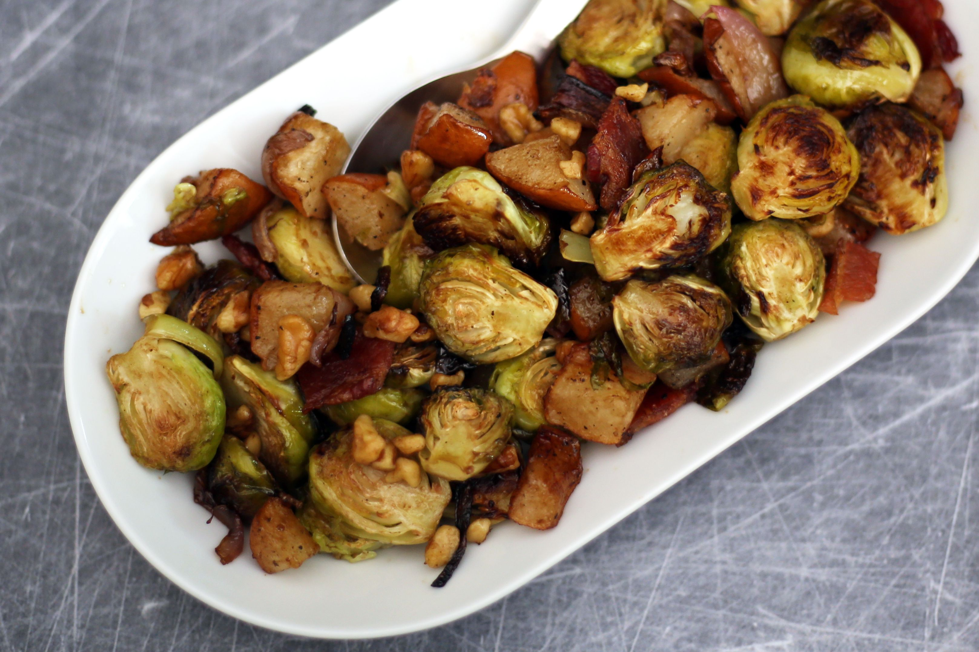 Roasted Brussels Sprouts With Pears, Walnuts and Bacon