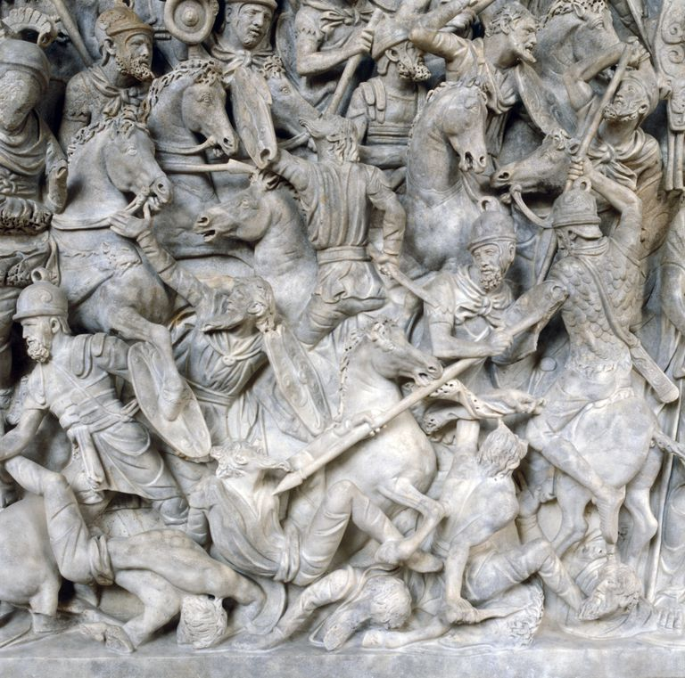 Romans in battle against the Barbarians, 2nd century.