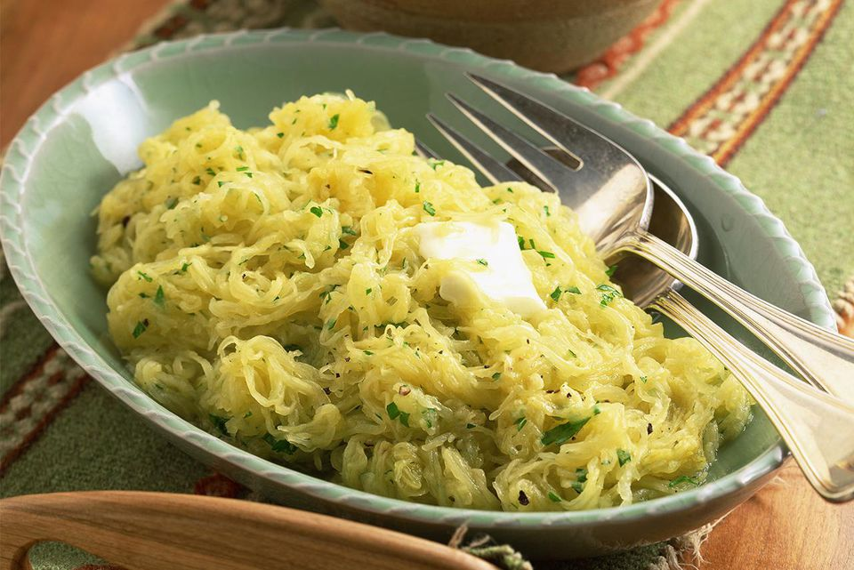 Spaghetti squash with parmesan toasts