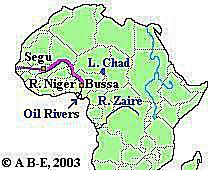 Route across Africa taken by Mungo Park