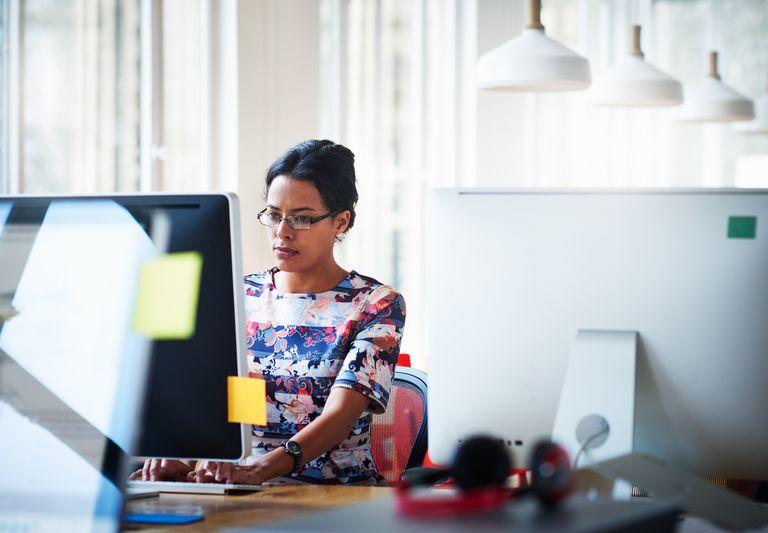 Businesswomen working in modern office