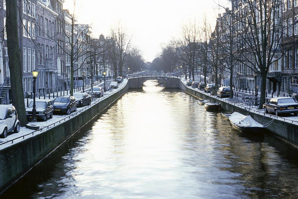 Amsterdam, Holland, view of canal in winter
