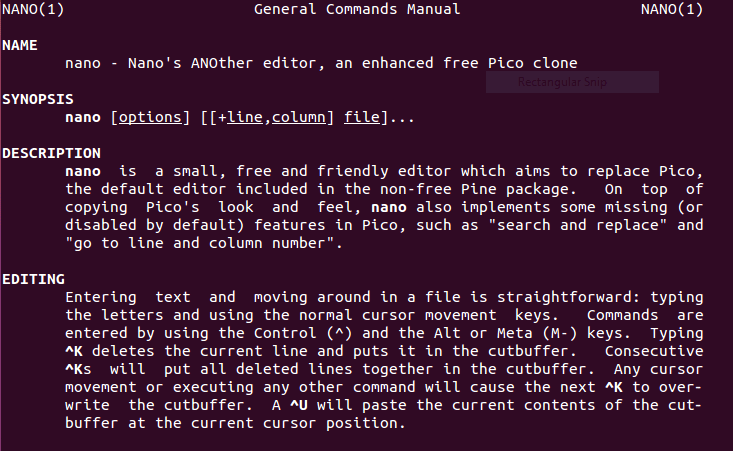 Linux Nano Editor