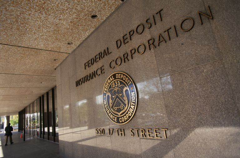 Federal Deposit Insurance Corporation sign on building.