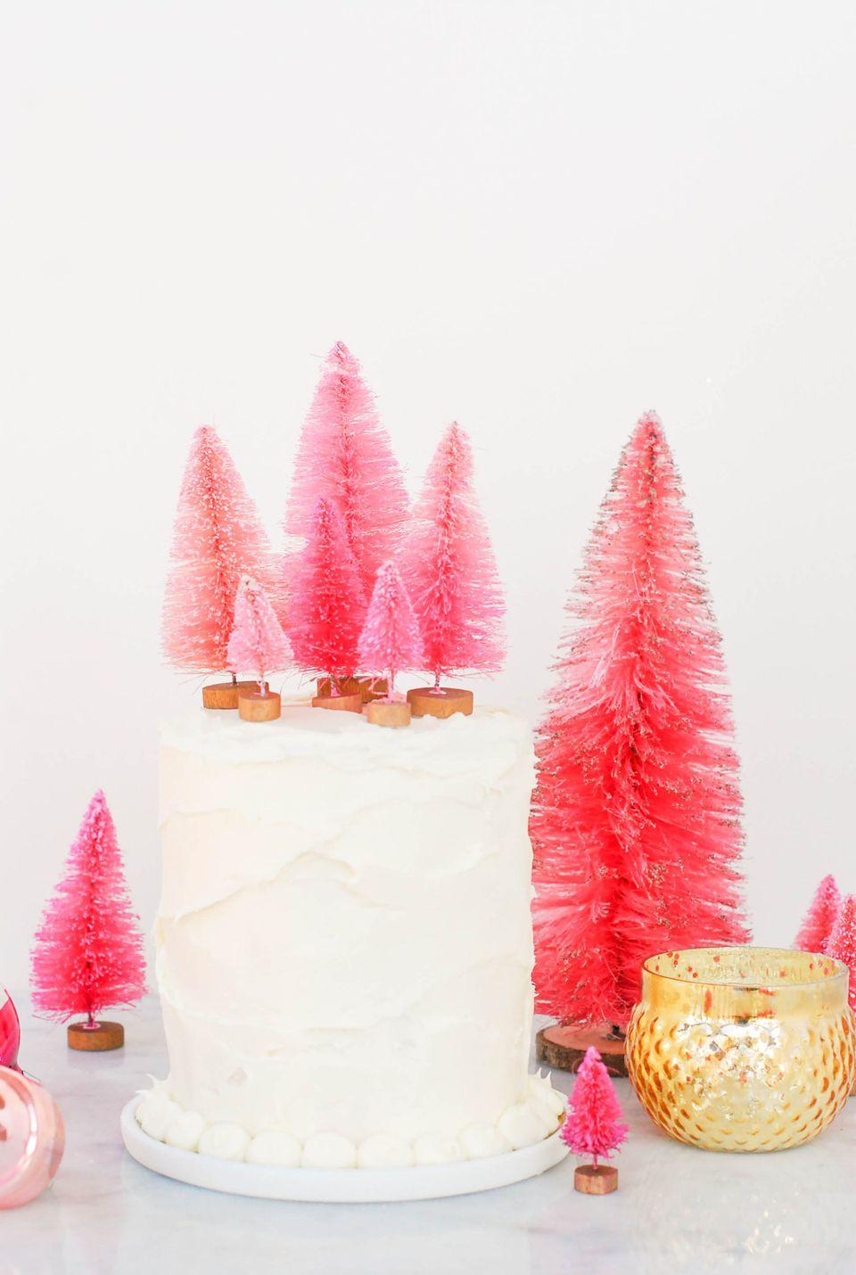 DIY Bottle Brush Tree Cake Toppers