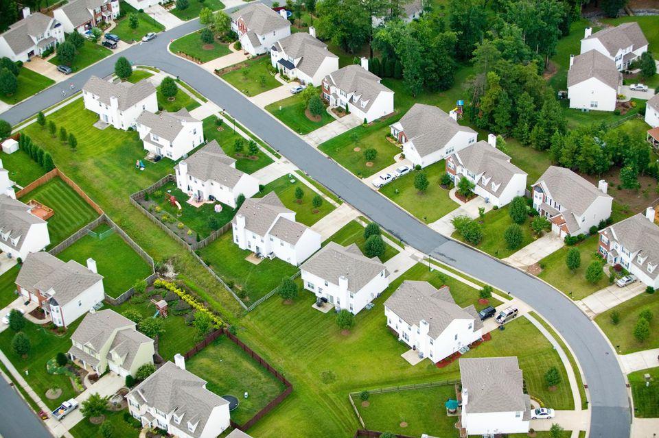 'Aerial view of housing development in Charlotte, North Carolina'