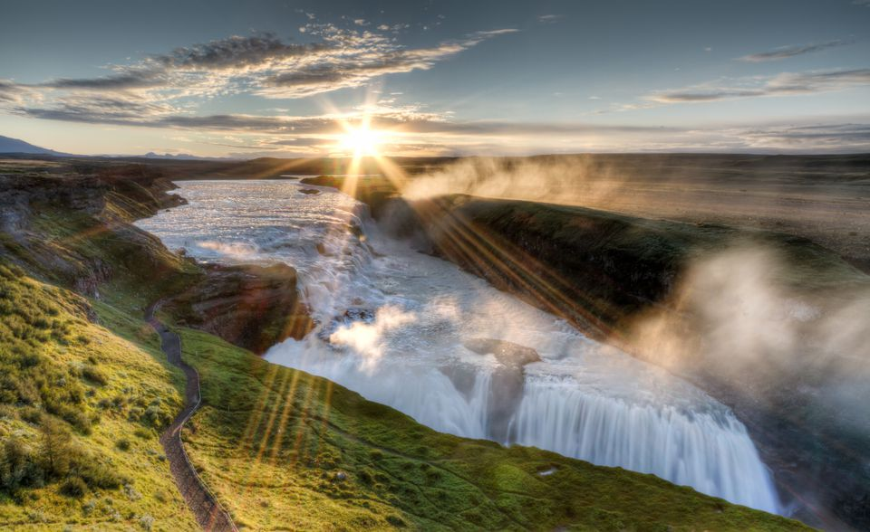 Sunrise over gullfoss waterfall in Iceland