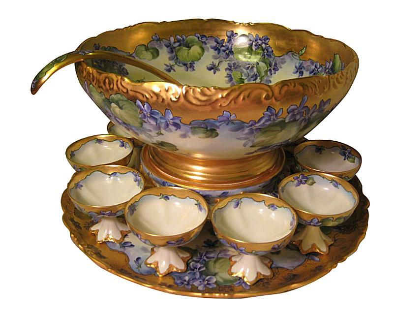 Tressemann & Vogt Limoges Hand Painted Punch Set, c. late 1800s