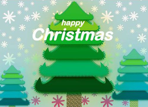 Screenshot of a free Christmas greeting card showing trees and snowflakes