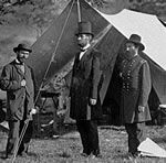 Allan Pinkerton, President Abraham Lincoln, General John McClernand at Antietam during the Civil War