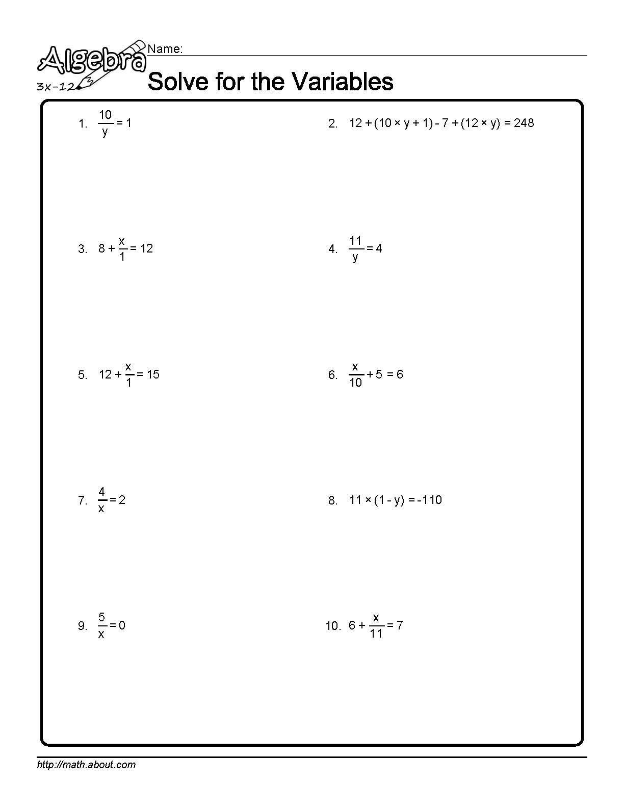 worksheet Variable Worksheets solve for the variables worksheet 1 of 10
