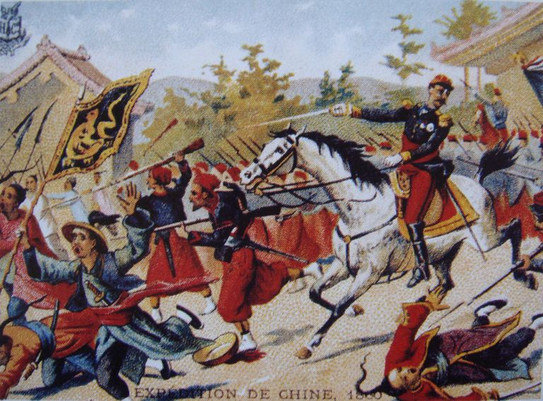 Painting from Le Figaro of French commander Cousin-Montauban leading a charge during the Second Opium War in China, 1860.