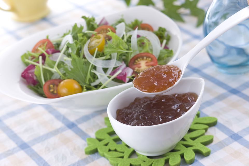 Scooping Ponzu Jelly Dressing with Spoon