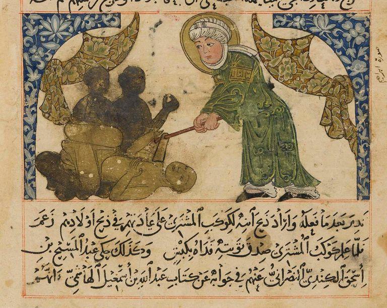 Abraham/Ibrahim destroying idols, Athar al-Baqiya (Chronology of Nations), NW Iran