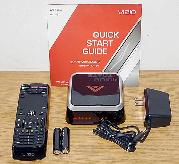 Vizio Co-Star with Google TV Stream Player - Model VAP430 - Front View with Included Accessories