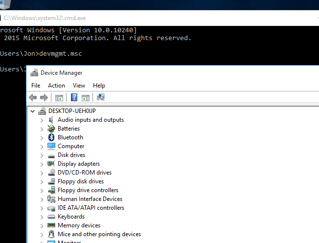 Screenshot of a Command Prompt window with cmd commands that execute Device Manager