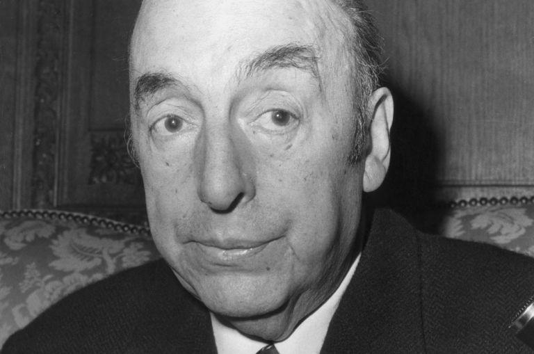 Black and white photo of Pablo Neruda