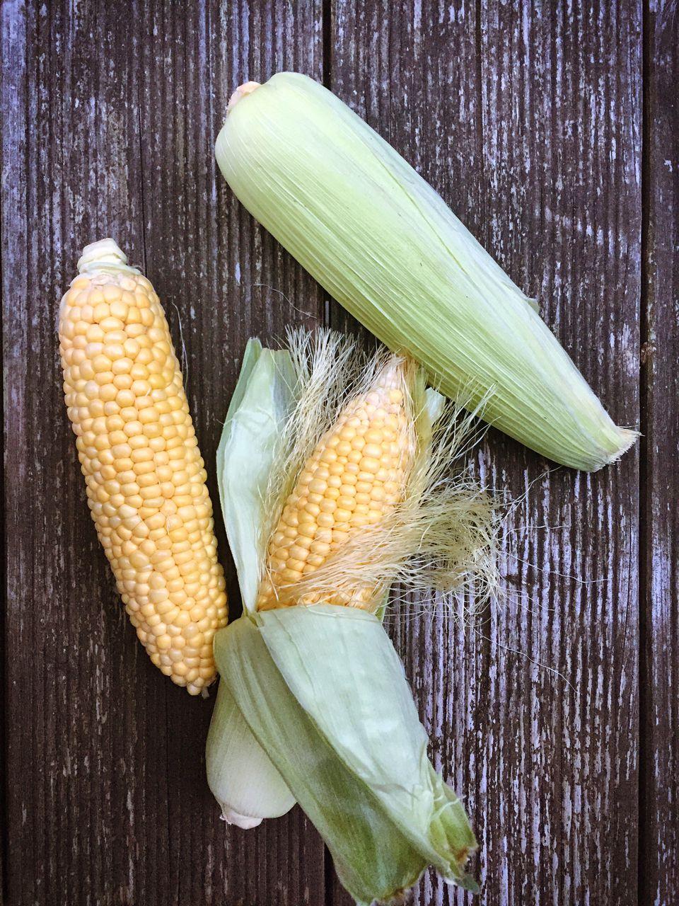 High Angle View Of Corns On Table