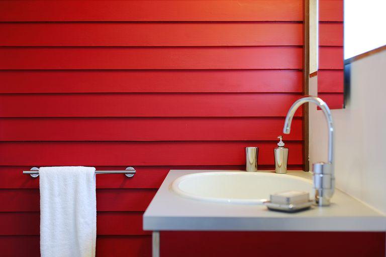 Towel and sink in modern bathroom