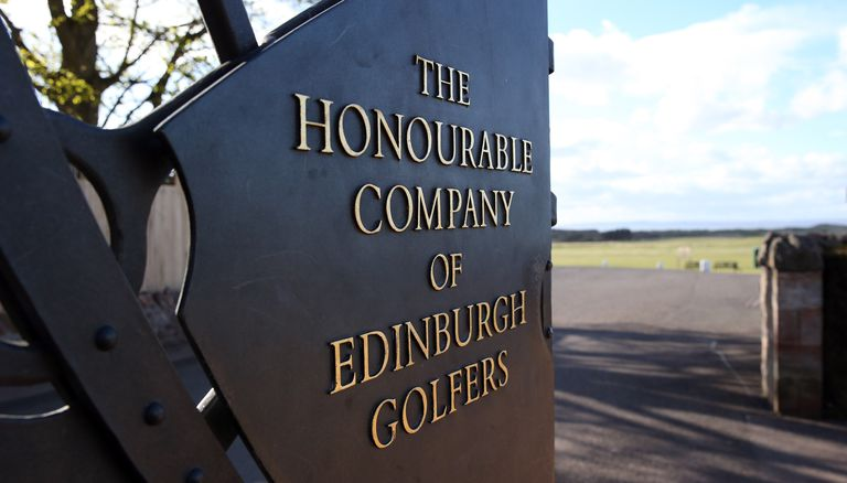 The gate to Muirfield with the name 'The Honourable Company of Edinburg Golfers' on it picture in Gullane, Scotland