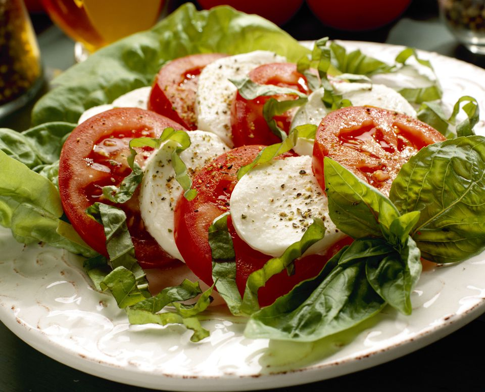 Tomatoes, basil and mozarella