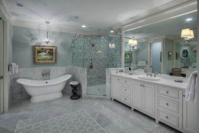 beach style bathroom room with white and gray marble - White Marble Tile Bathroom