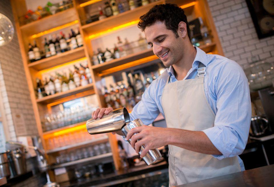 Bartender Rolling a Drink