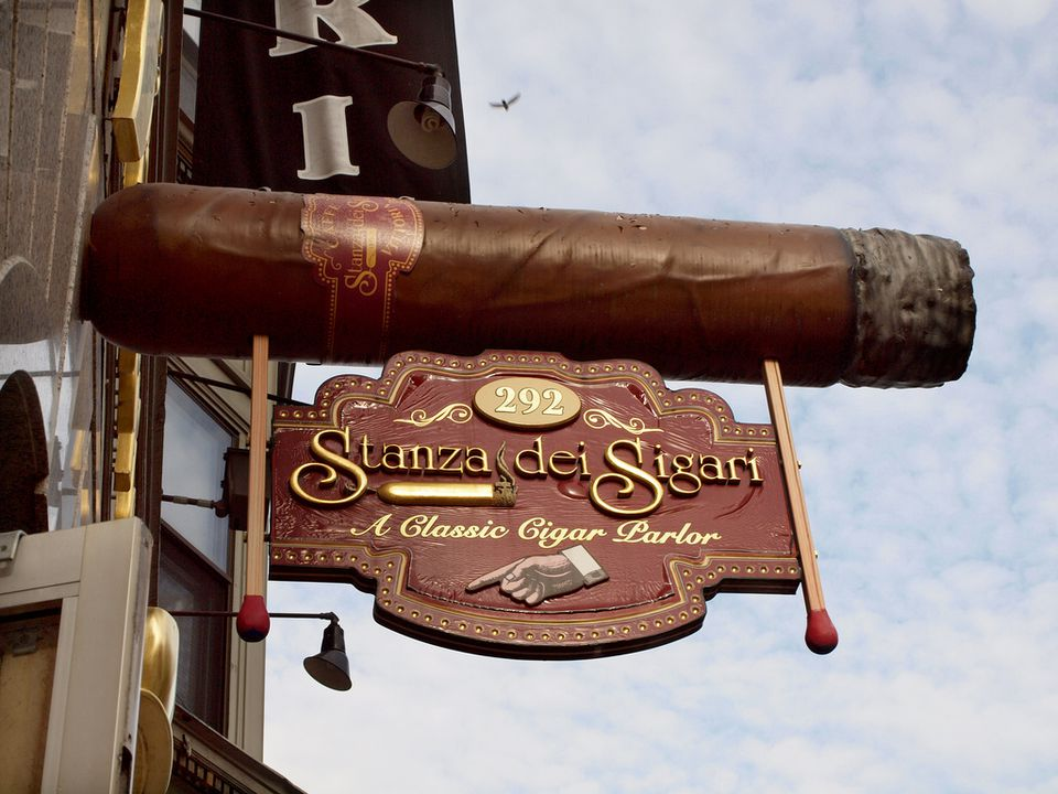 This photo shows the sign for Stanza dei Sigari in Boston's North End