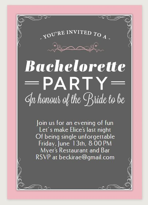 9 free, printable bachelorette party invitations, Party invitations